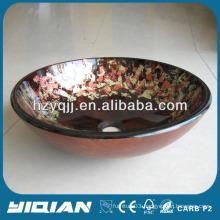 Glass Basin Cheap Production Flower Painting Beautiful Bathroom Basin Bowl