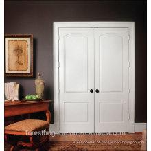 Simples porta principal design branco duplo entrada porta de madeira