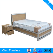Polishing Aluminum Spring Mattress Queen Bed With Bedside Table