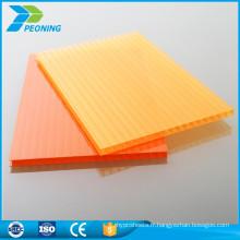 Panneaux en tôle de toiture en serre plastique en polycarbonate coloré en usine