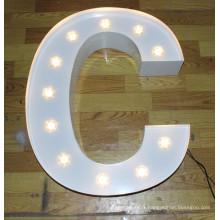 Lettres d'ampoule de décoration d'éclairage en aluminium