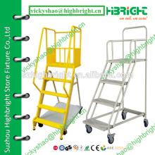 3 step platform ladders trolley for supermarket