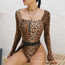 Maillots de bain à glissière à impression numérique léopard à manches longues