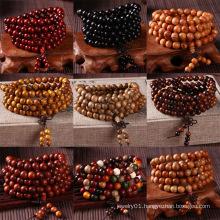 Chinese Style Men Jewelry Tibetan Buddhist Prayer 108 Wood Bead Bracelets Bangles For Women
