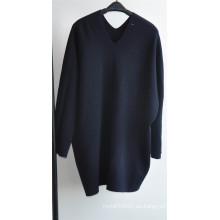 Invierno 100% lana mujeres V-cuello suéter jersey de punto