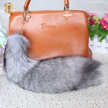 Wirkliche Pelz-Ordnung Schlüsselband Fox-Schwanz-Pelz Keychain Schlüsselbänder Weißer Fox-Pelz-Schwanz