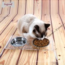 Bol d'animal de compagnie de double animal de compagnie avec le support d'aliments pour animaux familiers épais d'acier inoxydable de support de gros bol de chien d'acier inoxydable