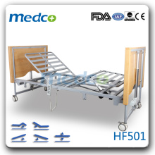 MED-HF501 Hot! Five functions electric foldable medical bed with wheels