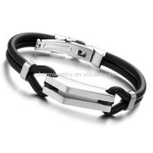 2015 nueva joyería de la manera la buena ejecución inoxidable nunca se descolora el diseño atractivo PH522 de la pulsera negra de la pulsera del silicón