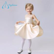 Simple Scoop Knee Length Sashes Bow Stain Tulle Fleurs Girl Dresses Wedding