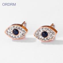 Rose gold rhinestone evil eye stud earrings