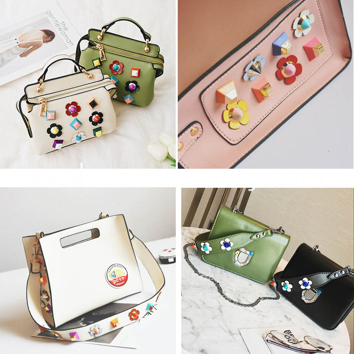 Multi-Color Flower Design Shoulder Bag