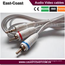 flexible Mini headphone male stereo to 2rca phone plug audio cables
