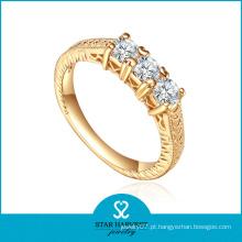 Charme moda cristal branco cz banhado a ouro anel de prata (r-0463)