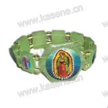 Holy Green Plastic Rosary Bracelet, Elastic Plastic Bracelet