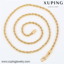43042 Xuping new designed artificial gold plated long chain imitation necklace