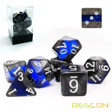 Bescon Mineral Rocks GEM VINES Polyhedral D&D Dice Set of 7, RPG Role Playing Game Dice 7pcs Set of SAPPHIRE