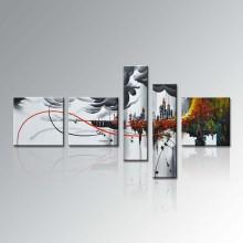 Ручная роспись группы 5 Piece Современные рамки Home Decor Холст стены искусства Аннотация масляной живописи (XD5-129)