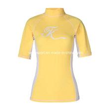Bright Yellow Upf50+ Lycra Rash Guard Shirts for Women (SNRG05)