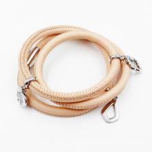 Bracelete por atacado do envoltório do couro genuíno do bracelete da forma para mulheres, bracelete de couro feito sob encomenda do encanto