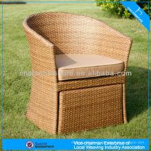 Cadeira de vime do jardim da mobília do pátio com otomano