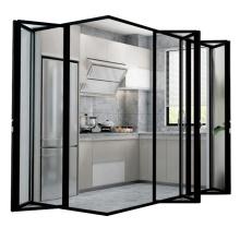 Black color design bi fold corner doors bi fold doors aluminum corner glass folding door