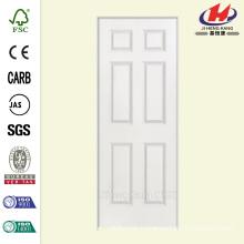 36 in. x 80 in. Smooth 6-Panel Hollow Core Primed Composite Single Prehung Interior Door