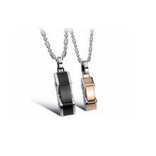 Hot sale jewelry sports car shape black rose gold plated couples pendant