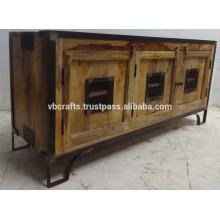 Industrial Urban Loft Metal Wooden Cabinet Natural Finish