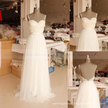 Sexy Backless Spaghetti Straps Lace Summer Boho Bohemian Beach Wedding Dress Bridal Gown