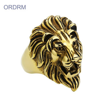 Stal nierdzewna Punk Mens Gold Lion Head Ring