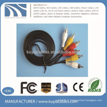 Câble AV 3 RCA à 3 RCA de haute qualité Plaqué or pour DVD, TV, STB