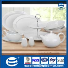 Белый фарфоровый керамический чайный чайник объемом 1200 мл, 2 яруса торта в порфине, сервировочное блюдо, шейкер соли и перца