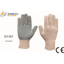 T / C Shell PVC Dots guantes de trabajo de seguridad (D1101)