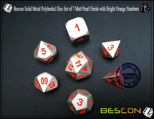 Bescon Solid Metal Polyhedral Dice Set of 7 Matt Pearl Finish with Bright Orange Numbers-3