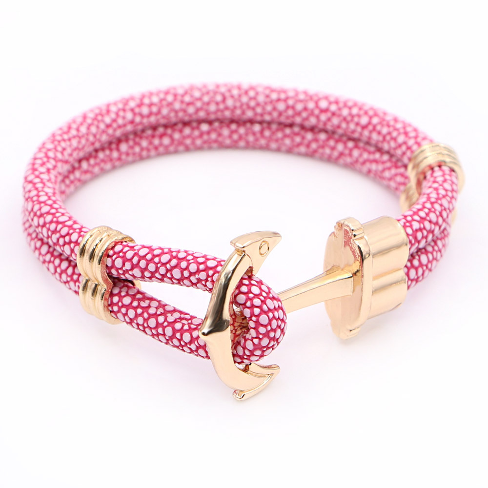 Ladies Design PU Leather Anchor Bracelets For Women