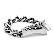 Silber Schwarz Körperschmuck Edelstahl Herren ID Armbänder