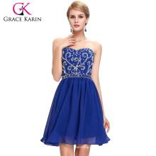 Grace Karin Strapless Sweetheart Short Royal Blue Chiffon Homecoming Dresses CL6049-4