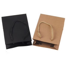 Custom logo free design twisted handle thick paper 4C printing khaki paper bag for restaurant