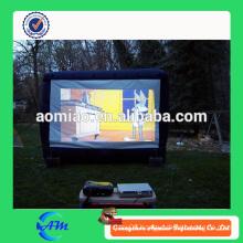 Outdoor cinema inflatable projection rear movie screen in tarpaulin