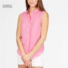Pink Cotton Sleeveless Women Shirt