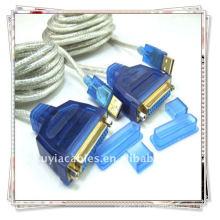 Câble d'imprimante blanc USB 1284 transparent, USB TO PARALLEL 1284 DB ADAPTATEUR DE CABLE D'IMPRESSION FEMININO