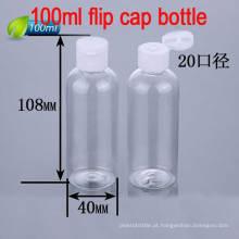 100ml Easy Open Flip Top Cap Garrafa de plástico para embalagem de cosméticos