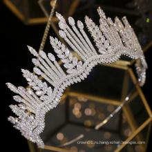 Европа Горячая Распродажа Полный Циркон Цирконий Сияющий Большой Конкурс Головной Убор Корона Свадебные Диадемы