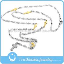 Granos de rosario bendecidos de acero inoxidable de moda al por mayor llevados como productos de collar de cruz religiosa