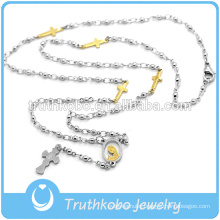 Wholesale Fashion Stainless Steel Blessed Rosary Beads Worn As Religious Cross Necklace Products