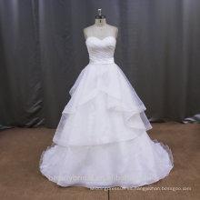 Organza de encaje blanco de organza blanco y vestidos de novia de oro