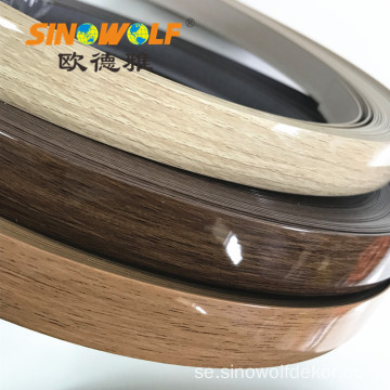 Woodgrain High Gloss PVC Edge Banding för Panel