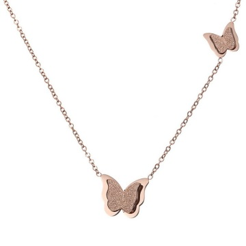 Perhiasan Kustom Rose Gold Disepuh Butterfly Necklace