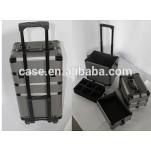 professional beauty aluminum cosmetic make up cases with trolley